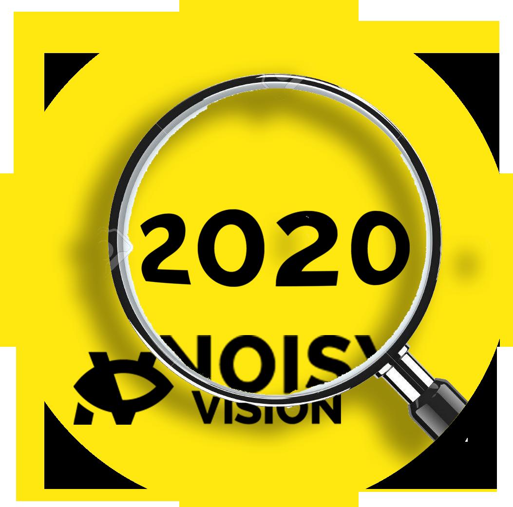 Lente di ingrandimento che ingrandisce il numero 2020 e aprte del logo si NoisyVision