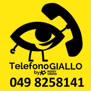 Il logo del Telefono Giallo e' un occhio sorridente con gambe e braccia che regge una enorme cornetta telefonica.