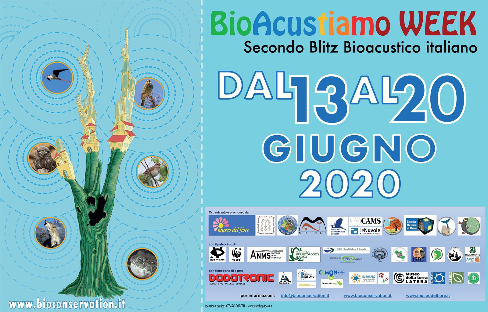 BioAcustic_Week_orizzontale Locandina  evento. Albero con vari suoni che partono dai rami. Loghi degli sponsor e ptraocini
