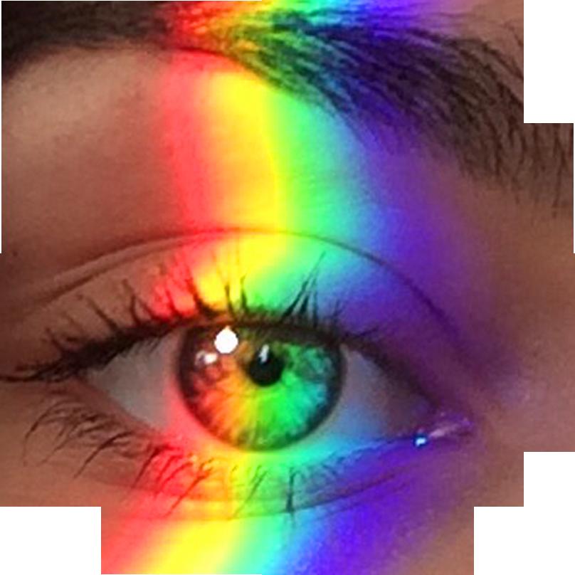 Occhio colpito da un raggio di luce multicolore