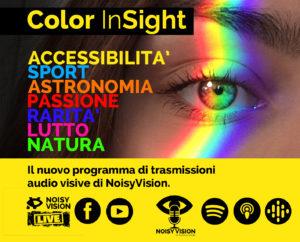 Locandina del progetto. un occhio colpito da un raggio di tutti i colori