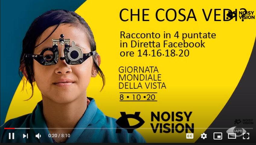 locandina della staffetta letteraria. Una bambina con occhiali epr provare le lenti