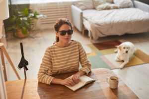 blind woman reading book
